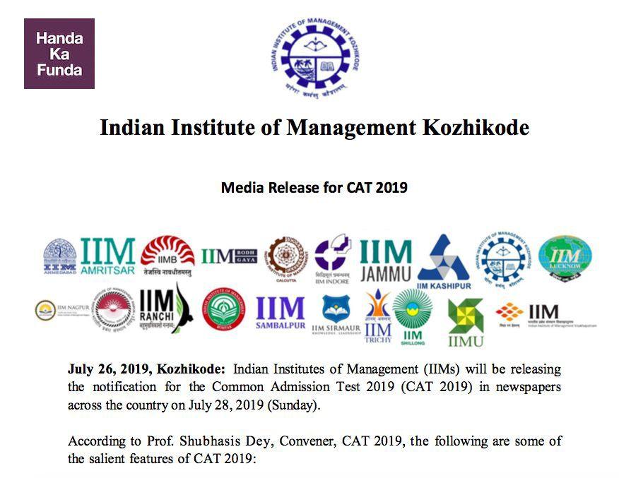 Official Media Release for CAT 2019 by IIM Kozhikode