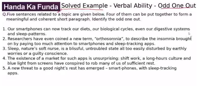 Verbal Ability – Odd One Out – Our smartphones can now track
